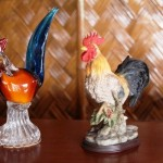 An imported crystal and ceramics made after a chicken image.